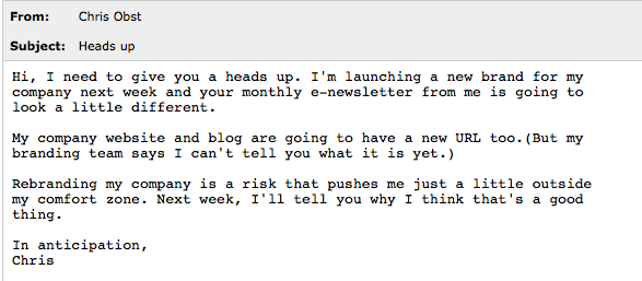 email tease sample